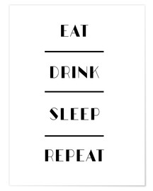 Poster  eat drink sleep 11x14 - Mod Pop Deco