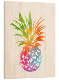 Wood print  WC Pineapple 16x20 - Mod Pop Deco