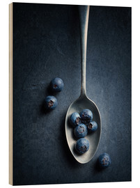 Wood print  Blueberries still life - Johan Swanepoel