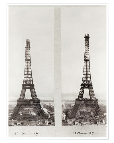 Premium poster Two views of the construction of the Eiffel Tower