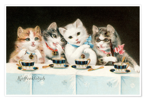 Premium poster Four Cat Girlfriends Having a Coffee Party