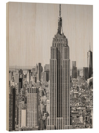 Wood print  New York City aerial skyline