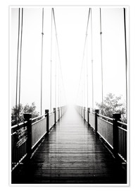 Premium poster Wooden bridge in fog