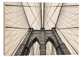 Wood print  Brooklyn bridge