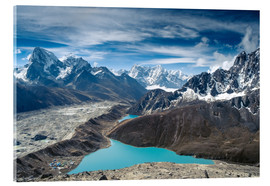 Acrylic glass  Mountains with lake in the Himalayas, Nepal