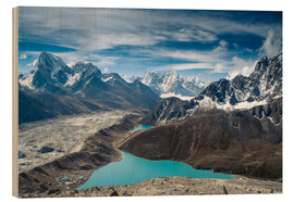 Wood print  Mountains with lake in the Himalayas, Nepal