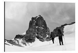 Aluminium print  Two hikers in the storm