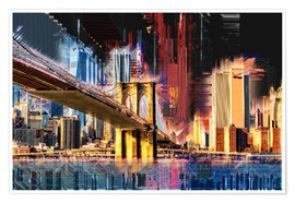 Premium poster  New York mit Brooklyn Bridge - Peter Roder