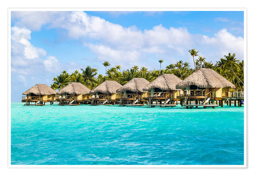 Premium poster Luxury vacation in an Overwater bungalow in the South Seas, Bora Bora, Polynesia