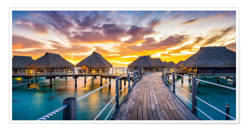 Premium poster Sunset panorama on a tropical island in the Pacific
