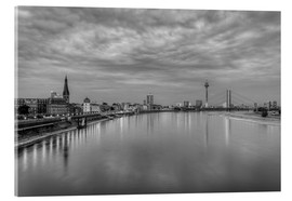 Acrylic glass  Düsseldorf skyline in the evening in black and white - Michael Valjak