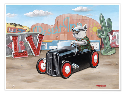 Premium poster Las Vegas Hot Rod Frenchie