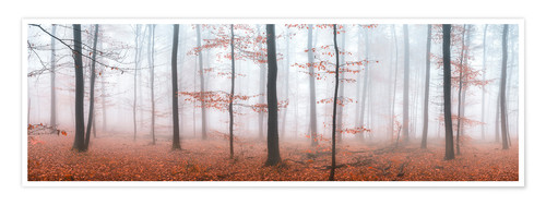 Premium poster Autumn panorama with red autumn leaves in the forest