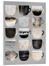 Acrylic glass  Pretty Coffee Cups 3   Grey - Elisabeth Fredriksson