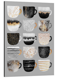 Alu-Dibond  Pretty Coffee Cups 3   Grey - Elisabeth Fredriksson