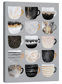 Canvas  Pretty Coffee Cups 3   Grey - Elisabeth Fredriksson