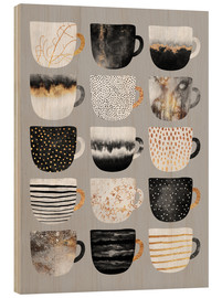 Wood print  Pretty coffee cups 3 in grey - Elisabeth Fredriksson