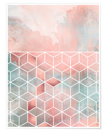 Premium poster Rose Clouds And Cubes