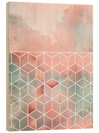 Wood print  Rose Clouds And Cubes - Elisabeth Fredriksson