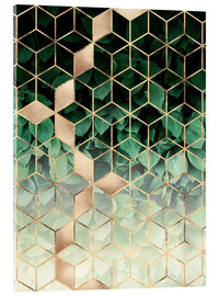Acrylic print  Leaves and cubes - Elisabeth Fredriksson