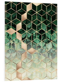 Foam board print  Leaves and cubes - Elisabeth Fredriksson
