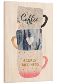 Wood print  A cup of happiness - Elisabeth Fredriksson