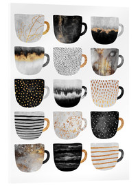 Acrylic glass  Pretty Coffee Cups 3   White - Elisabeth Fredriksson