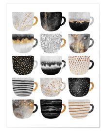 Premium poster Pretty coffee cups 3 in white