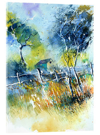 Acrylic print  The fence at the meadow - Pol Ledent