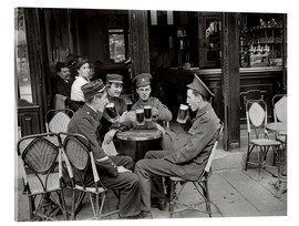 Jacques Moreau - French and English soldiers drinking beer at a cafe