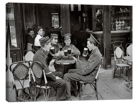 Canvas print  French and English soldiers drinking beer at a cafe - Jacques Moreau