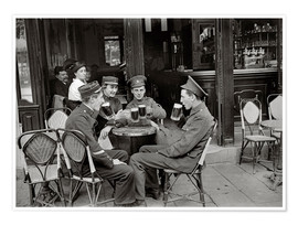 Premium poster French and English soldiers drinking beer at a cafe