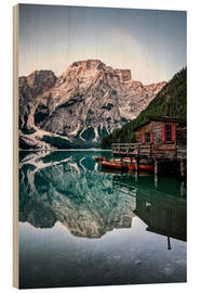 Wood print  Braies Lake, South Tyrol, Italy - Sören Bartosch