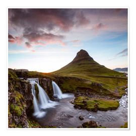 Premium poster Midnight sunset over Kirkjufell, Iceland