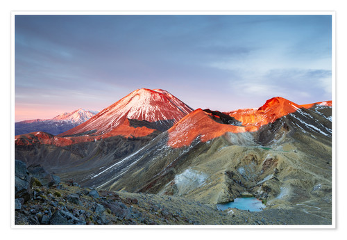 Premium poster First light on the volcano, Tongariro crossing, New Zealand