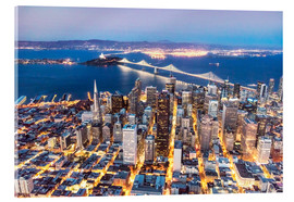 Acrylic glass  San Francisco and Bay bridge at night - Matteo Colombo
