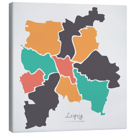 Canvas print  Leipzig city map modern abstract with round shapes - Ingo Menhard