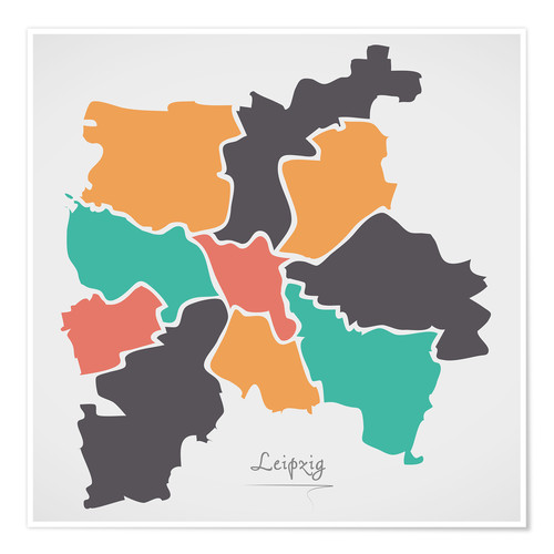 Premium poster Leipzig city map modern abstract with round shapes