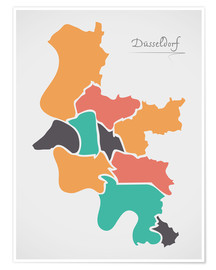 Premium poster  Dusseldorf city map modern abstract with round shapes - Ingo Menhard