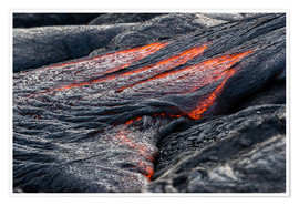 Premium poster Hot flowing Lava on Big Island, Hawaii