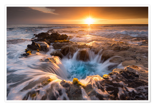 Premium poster Pools of Paradise during Sunset at the Coast of Hawaii (Big Island)