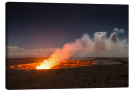 Canvas print  Active Kilauea Volcano under starry Sky, Big Island, Hawaii - Markus Ulrich