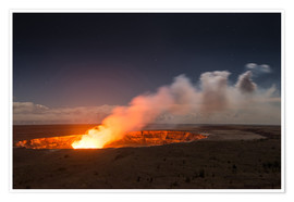 Poster Active Kilauea Volcano under starry Sky, Big Island, Hawaii