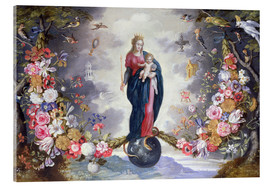 Acrylic print  The Virgin and Child surrounded by a garland - Jan Brueghel d.Ä.