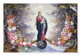 Premium poster  The Virgin and Child surrounded by a garland - Jan Brueghel d.Ä.