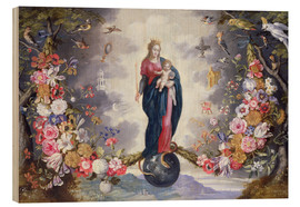 Wood print  The Virgin and Child surrounded by a garland - Jan Brueghel d.Ä.