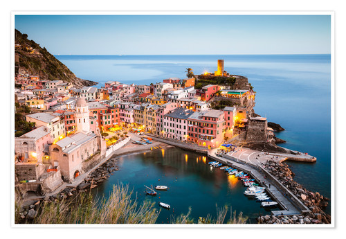 Premium poster Evening at Vernazza, Cinque Terre, Italy