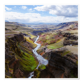 Premium poster Aerial view of river and canyon, Iceland