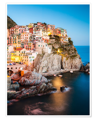 Premium poster Manarola in the evening, Cinque Terre, Italy