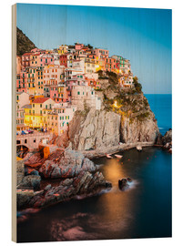 Wood print  Manarola in the evening, Cinque Terre, Italy - Matteo Colombo